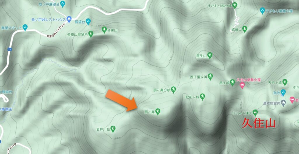 扇ヶ鼻(Google map)