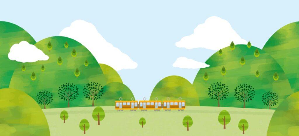 列車で山に出かける