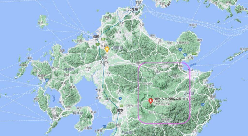 阿蘇くじゅう国立公園のエリア図